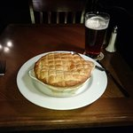 Corned beef and cabbage pot pie - delicious!  With an Old Speckled Hen.