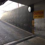 Steep ramp to the underground parking