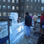 Ice Bar with Hawley Silk Mill in background on Cocoon Coffee House patio.