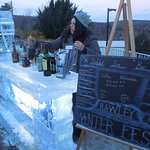 Outdoor bar made of ice for WinterFest