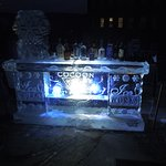 Ice Bar at Night!  Cocktails all a glow!