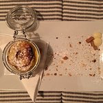 Crumble with pear cognac cream. Delicious