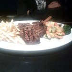 T-Bone Steak, Buttered Vegetables and fries