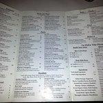 menu for La Dolce Vita Restaurant