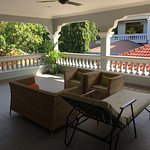 Private balcony that overlooks the pool