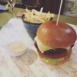 brioche, fancy burger and fries (chipotle mayo to die for)
