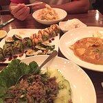 Sushi, beef Laab, panang chicken, & tempura veggies.