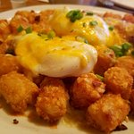 Hot Tots breakfast, and Sausage Sandwich  (biscuit). Yum!