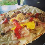 Mauna Kea-cream cheese, pepper jack cheese, turkey, roasted red pepper, mushroom and egg. It can
