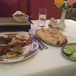 This is the tandoori mixed grill with naan bread and vegetables curry. Yum!!