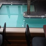 View of pool from dining room.