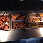 Sunday buffet included fried and barbeque chicken, sweet potatoes, lima beans, okra, English pea