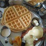 Waffles and egg bennies