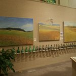 Front of east gallery with Michael Callihan paintings and Hebron Glass