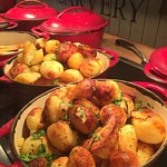 fresh hot roast potatoes