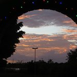 View through arched windows, after the sun went down