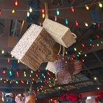Christmas decor on Toscano's ceiling