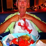 Martin preparing for his lobster feast.