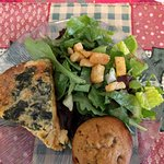 Spinach & feta quiche with salad and yummy muffin