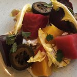 Golden Beet and pickled walnut salad