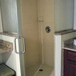 Walk-in shower of 2-bedroom unit