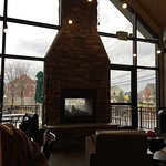 Nice fireplace inside but also has a drive thru!