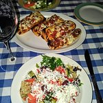 Shopska salad and bruschetta