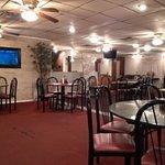 Drab dining area.