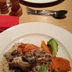 Ox cheek (top) and supreme of chicken with mushroom sauce