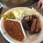 Brisket plate with beans and potato salad