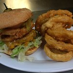 Classic Cheeburger and Onion Rings