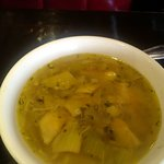 This soup was complimentary and delicious-vegetables and mushrooms