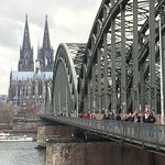 Bridge connecting Deutz to Cologne center and cathedral area. A short 5 minute walk from Hotel M