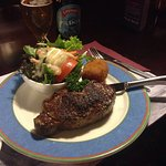 New York Cut served with Potatoe croquette and salad