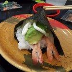 Avocado and fresh prawn hand rolls
