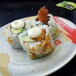 Avocado and tempura prawn rolls