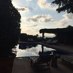 View from the pool as the sun is setting