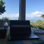 """My """"office"""" as I catch up on emails in the morning."""