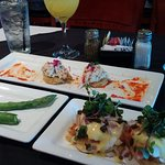 Appetizers, Bottomless Mimosas (served in Large wing Glasses!) and our Brunch Meals!