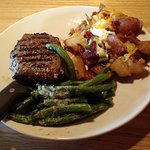 Sirloin steak had good flavor. The potatoes with bacon, chives, sour cream, a sprinkle of chedda