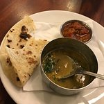 daal, tomato chutney & roti that comes with lamb curry