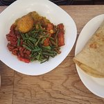 Vegetarian Roti with a side of pumpkin