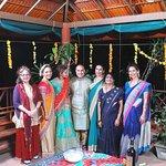 Bride n Groom with friends, relatives n host during dinner at Rooftop