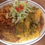 Green Chile Enchiladas served with rice & beans