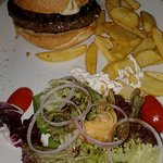 Beef Burger with chips and salad