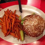 Buddha's Karma Burger & Sweet Potato Fries