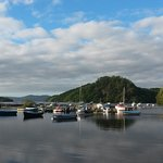 Balmaha marina - morning view from outside the bunkhouse.