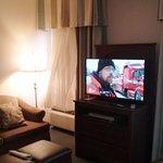 Big TV and comfy sofa