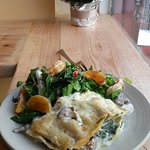 White Lasagne with wilted spinach mushrooms Tarragon infused Bechamel Sauce and bio cacioricotta