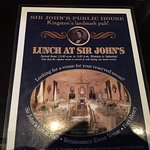 Sir John's Public House - menu (one of them)